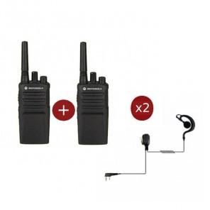 Motorola XT420 2-pack + 2 PTT Headsets