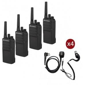 Motorola XT420 Walkie Talkie 4-Pack + 4 PTT oortjes
