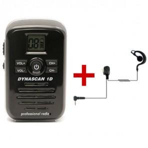 Dynascan 1D PMR446 Talkie Walkie + Écouteur en forme de G