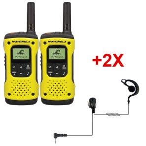 Pack de 2 Talkies-walkies PMR446 sans license Motorola T92 avec 2 Oreillettes PTT