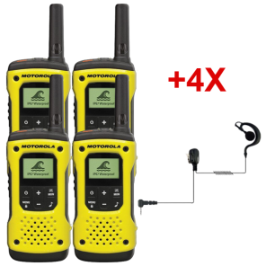 Pack de 4 Talkies-walkies PMR446 sans license Motorola T92 avec 4 Oreillettes PTT