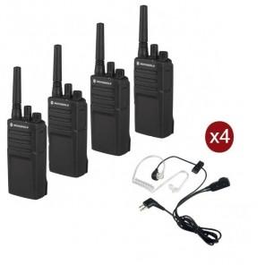 Pack de 4 talkies-walkies Motorola XT420 avec 4 Kits Bodyguard