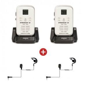 2 Dynascan 1D PMR446 Walkie-Talkies + 2 G-Vormige Oorstukken (Wit)(1)