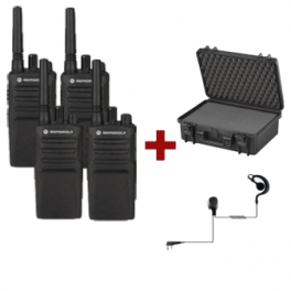 Motorola XT420 4-pack met 4 PTT headsets & draagkoffer