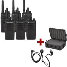 Motorola XT420 6-pack + 6 PTT oortjes & draagkoffer