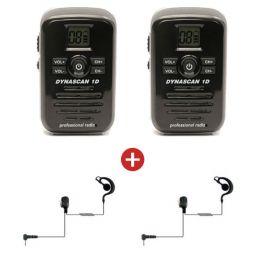 2 Dynascan 1D PMR446 Walkie-Talkies + 2 G-Vormige Oorstukken (1)