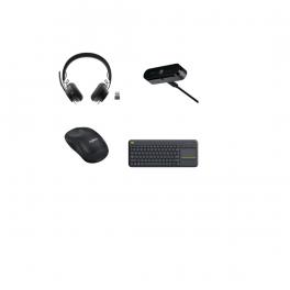4-delige Logitech telewerk-pack: Headset + Webcam + Draadloze Muis + Draadloos Toetsenbord