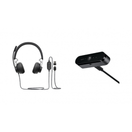 Pack: Logitech Zone Wired Headset UC + Logitech BRIO STREAM (Zwart)