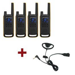 Motorola Talkabout T82 Extreme 4-Pack + 4x D-Vormige oorstukken