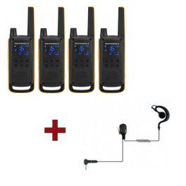 Motorola Talkabout T82 Extreme 4-Pack + 4x Oorschelp Headset