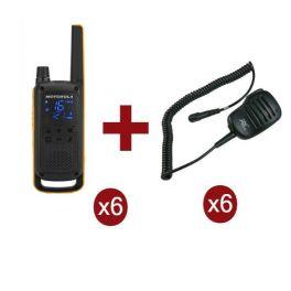 Motorola Talkabout T82 Extreme 6-Pack + 6x Speakermicrofoon
