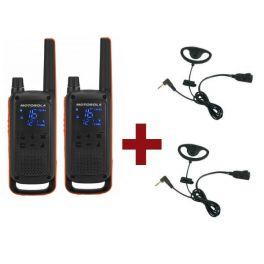 Motorola Talkabout T82 + 2x D-Vormige oorhaak