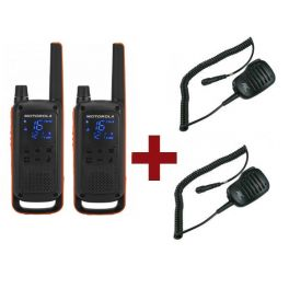 Motorola Talkabout T82 + 2x Speakermicrofoon