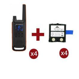 Motorola Talkabout T82 4-Pack + 4x Reserve Batterijen