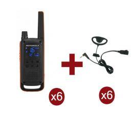 Motorola Talkabout T82 6-Pack + 6x D-Vormige oorstukken