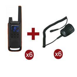 Motorola Talkabout T82 6-Pack + 6x Speakermicrofoon