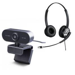 Cleyver HC65F PC Headset + Midland W199 Webcam