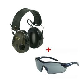 3M Peltor SportTac groen + MSA beschermingsbril