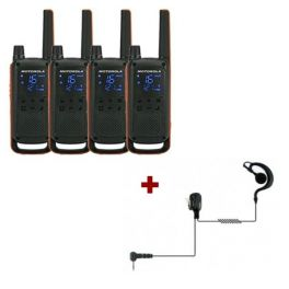 Motorola Talkabout T82 4-Pack + 4x Oorschelp Headset