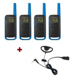 Motorola Talkabout T62 (Blauw) 4-Pack + 4x D-vormige headsets