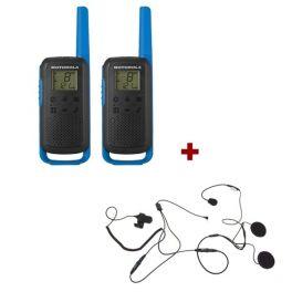 Motorola Talkabout T62 (Blue) + 2x Open Face Helmet earpiece