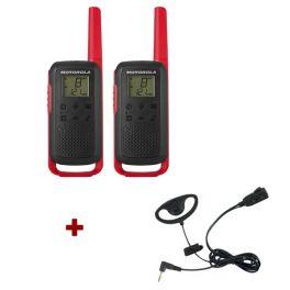 Motorola Talkabout T62 (rood) + 2x D-vormige oorhaak headset